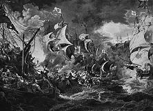 Der Untergang der Armada Die große spanische Flotte, die Philipp II. ausgesandt hatte, um England für die Raubüberfälle auf das spanische Kolonialreich zu strafen, wurde 1588 bei Gravelines an der flandrischen Küste von der beweglicheren englischen Kriegsmarine zurückgeschlagen - ein Sieg, in dem England die göttliche Rechtfertigung seiner Räubermethoden sah.