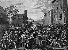 Ausmarsch englischer Truppen – Unbarmherzig wird die Verwilderung der englischen Armee gegeißelt, die 1745 zur Abwehr des in Schottland gelandeten Stuart-Prätendenten auszog. Nach dem Siege über ihn bei Culloden tobte sich ihre Blutgier gegenüber den Anhängern des Geschlagenen aus. - Gemälde von William Hogarth.