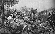 """Australische Eingeborene als Jagdobjekt Die eingeborene Bevölkerung des australischen Kontinents wurde zum Freiwild für die sadistischen Instinkte der englischen """"Kulturträger"""" gemacht. Es gelang, sie innerhalb weniger Jahrzehnte zum größten Teil auszurotten. - Nach einer alten Lithographie."""