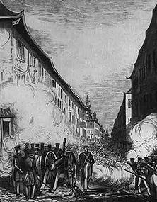 """Britisches """"Heldentum"""" in Ningpo Der englische Leutnant John Ouchterlony, der dabei war, hat diese Zeichnung gemacht, auf der man sieht, wie englische Geschütze während des Opiumkrieges (1841) in den Straßen von Ningpo ein Blutbad unter der hilflosen chinesischen Bevölkerung anrichten."""