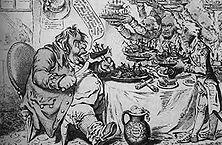 Der unersättliche John Bull Eine gemütvolle Verherrlichung der britischen Erfolge über die anderen Seemächte zugleich eine scharfe Anklage gegen den hemmungslosen Machthunger der britischen Plutokratenclique. - Zeichnung von James Gillray.