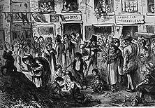 """Hier hält König Cholera Hof – Trotz aller Anklagen wohlmeinender Menschenfreunde, trotz aller Untersuchungsausschüsse und wohltätigen Vereine ist es nicht möglich gewesen, aus den englischen Großstädten das krasse Elend zu vertreiben, das dort in den Jahren der """"industriellen Revolution"""" seinen Einzug hielt. -Zeichnung aus dem"""" Punch"""" (1852)"""