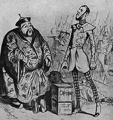 """Warum England den Opiumkrieg entfesselte Diese Zeichnung von Jean Grandville aus dem """"Charivari"""" (1840) trägt die Unterschrift: """"Ihr müßt dies Gift sofort kaufen"""", sagt der Engländer, """"wir wollen, daß ihr euch vollkommen vergiftet, damit wir genug Tee haben, um unsere Beefsteaks zu verdauen."""""""
