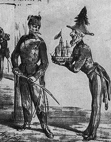 """Dänemark hat nichts vergessen – Auf dieser Zeichnung aus dem Pariser """"Charivari"""" 66 vom Jahre 1864 bietet der Engländer dem Dänen seine Flotte als Hilfe gegen Preußen an. Doch der Däne antwortet in Erinnerung an die Beschießung Kopenhagens im Jahre 1807: """"Danke schön, mein lieber Engländer, wir kennen eure Methoden, den Leuten zu helfen!"""""""