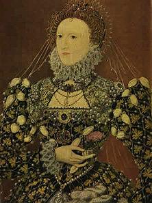 """Königin Elisabeth (1557-1603) Die """"jungfräuliche Königin', auch in Deutschland früher viel bewundert, finanzierte die Raubfahrten englischer Piraten in fremde Kolonialgebiete und verdiente selbst viel Geld daran. - Gemälde eines unbekannten Meisters."""