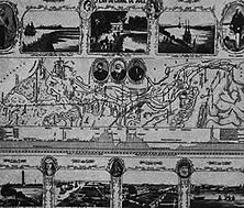 """Ein Plan des Suez-Kanals aus der Zeit seines Baues Ferdinand von Lesseps, nicht nur der Erbauer des Kanals, sondern auch ein gewandter Propagandist seiner Unternehmung, gab diesen Prospekt heraus. Vergeblich hatte England aus egoistischen Gründen den Durchstich der Landenge zu verhindern gesucht. - Nach einer Veröffentlichung der englischen Zeitschrift """"Picture Post"""" aus dem Jahre 1939."""