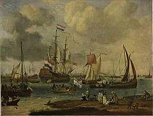 Das Flaggschiff der Holländischen Westindien-Gesellschaft Die Rührigkeit der niederländischen Seefahrer, die ihrem Vaterlande ein stattliches Kolonialreich erworben hatten, war der neidischen britischen Plutokratie ein Dorn im Auge. - Gemälde von Wittern van der Velde.