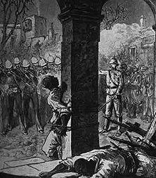 """Erschießung ägyptischer Freiheitskämpfer Da sich die Freiheitsbewegung Arabi Paschas auch gegen den engelandhörigen Vizekönig richtete, hatte England eine prächtige Gelegenheit, den Aufstand mit eigenen Truppen """"im Namen des Khedive"""" rücksichtslos niederzuschlagen und so die ägyptische Unabhängigkeit im Keim zu ersticken. - Zeichnung eines englischen Augenzeugen."""