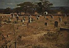 Der deutsche Friedhof am Waterberg– Hier ruhen Seite an Seite mit den Gefallenen aus dem Hereroaufstand die tapferen Männer der Schutztruppe, die bei der Verteidigung Deutsch-Südwests während des Weltkrieges gegen eine mehr als zehnfache englisch-burische Übermacht ihr Leben ließen.
