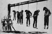 """""""König Eduards Galgen"""" """"Die Proklamation"""", so schrieb Kitchener in seinem offiziellen Bericht, """"in der ich alle bewaffneten Buren kurzerhand zu Rebellen erklärte, hat die günstigsten Ergebnisse gehabt. Ich habe sie überall gleichmäßig anwenden lassen was die beste Wirkung hervorrief ..."""" -Zeichnung von Jean Vèber."""