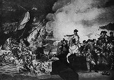 Die Verteidigung von Gibraltar – Während des amerikanischen Unabhängigkeitskrieges hatte Gibraltar drei Jahre lang eine Belagerung durch die Spanier und Franzosen auszuhalten (1779-1782). Die erfolgreiche Verteidigung verdankte es den deutschen Soldaten der Besatzung, vor allem Hannoveranern. - Gemälde von John Copley.