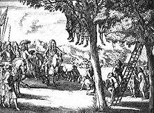 Grausamkeiten König Jakobs II. in Irland Im Jahre 1169 begann mit dem Einfall anglo-normannischer Ritter unter König Heinrich II. von England der lange Leidensweg des irischen Volkes. Unter Cromwell und den letzten Stuarts wurde ganz Irland erobert.- Stich des Holländers Peter Pickaert.