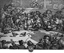 """Der Hahnenkampf Auch der Hahnenkampf galt in England früher als """"königlicher Sport"""" - so genannt, weil die Krone Abgaben von den Veranstaltern bezog. Hier tobte sich auch die in England unausrottbare Wettleidenschaft aus. - Stich von William Hogarth.."""