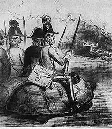 """""""Hilfe für Polen"""" Die Westmächte hatten den Polen vor ihrem Aufstand gegen Russland militärische Hilfe zugesichert. Als aber die Polen losschlugen, begnügte sich die Diplomatie Englands und Frankreichs mit der Übersendung von Noten und verhöhnte die polnische Vertrauensseligkeit - ein überraschend zeitnahes Bild! - Aus dem Pariser """"Charivari"""" (1863)."""