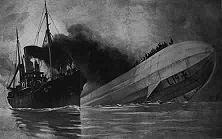 """Ein Dokument britischer """"Humanität"""" Der englische Zeichner Hodgskin hat im """"Graphic"""" vom 12. Februar 1916 die Szene festgehalten, wie der englische Dampfer """"King Stephen"""" die Mannschaft des Zeppelinluftschiffes """"L 19"""" in Seenot ohne Hilfe ließ. Die Schriftleitung bemerkte dazu: """"So ist anzunehmen, daß jeden einzelnen der babykillers' das Schicksal getroffen hat, das er verdient."""" Die Torpedierung der """"Athenia"""", der Piratenüberfall auf die """"Altmark"""", die Bombardierung offener Städte und zahllose andere Verbrechen beweisen, dass die Engländer sich durch die Jahrhunderte nicht geändert haben."""