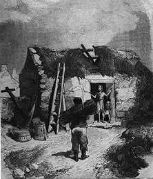 """Irisches Elend Im Jahre 1845 zählte Irland über 8 Millionen Einwohner - heute nur noch 4,3 Millionen! Die Entvölkerung war eine Folge der durch die englische Selbstsucht verursachten Hungersnöte - die furchtbarste um 1850 - sowie der dadurch verursachten Massenauswanderungen. - Aus der Pariser """"Illustration"""" von 1854."""