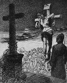 """Irland am Kreuz Das gemarterte Irland, um das sich die Schatten verhungerter Frauen und Kinder sammeln, spricht: """"0 Gott, den ich so lange vergebens angefleht habe - solltest du ein Engländer geworden sein?"""" - Aus der französischen Wochenschrift """"Le Rire"""" von 1899"""