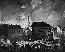 Die Beschießung Kopenhagens Da die dänische Regierung nicht gutwillig den Engländern ihre Kriegsflotte auslieferte, befahl der englische Befehlshaber das Bombardement auf die Hauptstadt des neutralen Landes (4. Sept. 1807). Gemälde von Chr. Aug. Lorentzen.