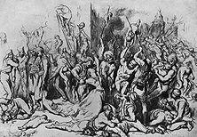 Englands Kulturmission in Indien Die hemmungslose Grausamkeit und Willkür, die die englische Soldateska nach der Niederwerfung des Sepoy- Aufstandes von 1857 gegen Frauen und Kinder walten ließ, erregte in ganz Europa Empörung. - Zeichnung von Gustave Dorè.