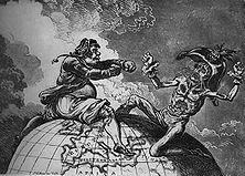 """England setzt den Fuß auf Malta – Zeichnung des Engländers James Gillray soll dem Triumph über die Besiegung Napoleons Ausdruck geben, ist dabei ungewollt zu einer scharfen Satire auf die englischen Raubmethoden im Mittelmeer geworden. Napoleon hat von John Bull einen Boxhieb Marke """"Nelson"""" bekommen."""