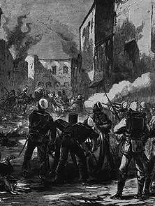 """Mit Marineartillerie auf wehrlose Bewohner Arabi Pascha hatte Befehl gegeben, den in Alexandria gelandeten Engländern keinen bewaffneten Widerstand zu leisten. Trotzdem """"säuberte"""" englische Artillerie die Straßen der brennenden Stadt. - Zeichnung eines englischen Augenzeugen."""
