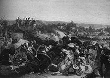 Die Schlacht bei Miani Der Einfall in den Staat Sind am Unterlaufe des Indus (1843) gehört zu den brutalsten Völkerrechtsbrüchen der britischen Kolonialgeschichte. Die Engländer hatten die Unabhängigkeit des Staates feierlich anerkannt und benutzten lächerliche Vorwände, das tapfere Volk der Belutschis trotzdem zu unterjochen. - Gemälde von Armitage.