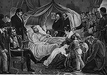 Der Tod Napoleons – Der Gouverneur von St. Helena, Sir Hudson Lowe, hat selbst zugegeben, dass er strikte Anweisung hatte, den gefangenen Kaiser mit kleinlicher Grausamkeit zu behandeln. So rächte sich England an dem großen Gegner, nachdem deutsche Soldaten ihn besiegt hatten! - Lithographie von Schuppan.