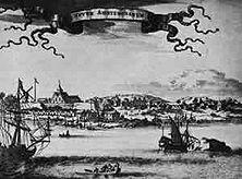 Neu-Amsterdam um die Mitte des 17. Jahrhunderts An der Mündung des Hudson hatten holländische Siedler und Kaufleute diese blühende Kolonie geschaffen, die England 1664 raubte und in New York umbenannte. - Nach einem alten niederländischen Stich.