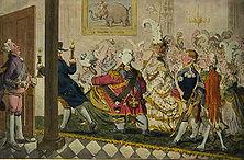 """Eine Hochzeit in Plutokratenkreisen Auf vielen Blättern hat der bedeutende englische Zeichner James Gillray das hohle Gepränge der """"Oberen Zehntausend"""" in England und die schweren sozialen Missstände, vor allem den krassen Gegensatz zwischen arm und reich, unbarmherzig gegeißelt."""