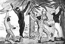 Praktisches Christentum – Im Vertrag von Utrecht 1713 hatte England eins seiner wichtigsten Kriegsziele erreicht: ihm fiel das Monopol des Sklavenhandels nach Amerika zu. Während die Kassen der Plutokratie sich füllten, wurden Millionen von Negern in grausamster Weise aus ihrer Heimat verschleppt. - Zeichnung des Engländers R. Newton (1790