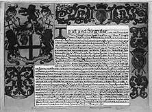Ein Privilegienbrief der Ostindien-Kompanie 1698 erneuerte König Wilhelm III. von England, aus dem Hause Oranien, die Privilegien der Ostindien-Kompanie, zu deren Aktionären außer der Londoner Kaufmannschaft auch viele Mitglieder des Hochadels zählten