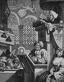"""William Hogarth, der große Sittenschilderer des 18. Jahrhunderts, hat hier unübertrefflich die verlogene englische Religiosität gezeichnet, die heilige Worte auf den Lippen führt und dabei sehr unheiligen Gedanken nachhängt. Theodor Fontäne hat das treffend formuliert: """"Sie sagen Christus, und sie meinen Kattun."""""""