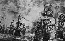 Seeschlacht vor der Themsemündung 1653 Trotz seiner Berufung auf den protestantischen Glauben verbündete sich Cromwell mit dem katholischen Frankreich gegen dos protestantische Holland, um dessen Seemacht zu vernichten. Doch die Holländer leisteten hartnäckig Widerstand. - Gemälde von Wittern van der Velde.