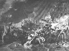Die Seeschlacht bei La Hogue Nachdem Holland unschädlich gemacht worden war, wurde Ludwig XIV. von der britischen Plutokratie zum Weltfeind Nr. 1 erklärt. Mit Hilfe der Holländer gelang es, bei La Hogue 102 die französische Flotte zu vernichten. Gemälde von Benjamin West.