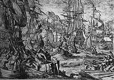 Eine spanische Silberflotte wird von englischen Piraten geplündert Durch gemeine Raubüberfälle versuchten die Engländer den Vorsprung aufzuholen, den sich Spanien durch die Entdeckung Amerikas und seiner Silbergruben verschafft hatte. - Nach einem alten Holzschnitt.