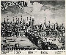 """Der Stalhof Unweit der überbauten London Bridge erhob sich an der Themse die Niederlassung der deutschen Hanse, der """"Stalhof"""" (auf unserem Bilde durch die Ziffer 55 bezeichnet). 1597 erzwang der Neid Londoner Kaufleute die Schließung dieser blühenden und auch für Englands Wirtschaft so wertvollen Handelszentrale."""