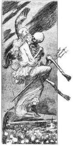 """Englischer Totentanz – Die Zeichnung des Franzosen Willette stammt aus den Tagen, da England grausames Vorgehen gegen die Buren überall Empörung weckte (1899). Sie trägt die Unterschrift: """"An dem Tage, da das perfide Albion krepiert, wird Freude auf Erden sein."""""""