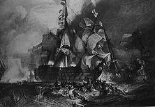 Die Seeschlacht von Trafalgar – Nelsons Sieg bei Trafalgar (November 1805) vernichtete die schlecht geführte französische Flotte und nahm damit Napoleon die Möglichkeit, das höchste Ziel seines Strebens zu erreichen: die Zerschlagung der britischen Weltmacht. Gemälde von Turner.