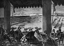 """Königin Victoria bei einer Truppenschau in Paris – Das Jahrhundert nach der Niederwerfung Napoleons stand im Zeichen einer immer stärkeren Anlehnung Frankreichs an England wie sie in dem gemeinsamen Kampf gegen Russland während des Krimkrieges ihren Ausdruck fand. - Aus der Pariser """"Illustration"""" (1858)."""