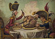 England und Frankreich teilen sich die Welt – Dabei ist es für den englischen Zeichner Gillray selbstverständlich, dass England (Pitt der Jüngere) den größeren Teil erhält während sich Frankreich (Napoleon I.) mit Europa begnügen muss.