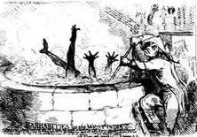 Barbarische Methoden in Westindien Im englischen Unterhaus war 1797 zur Sprache gekommen, daß ein englischer Sklavenhalter einen wegen Krankheit arbeitsunfähigen Neger dreiviertel Stunden lang in einen mit kochendem Zuckersaft gefüllten Kessel gesteckt hatte. Zeichnung des Engländers James Gillray..