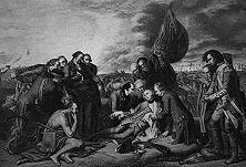 """""""General Wolfes Tod bei Quebec"""", ein Bild, das in unzähligen Wiedergaben nicht nur in England, sondern in ganz Europa verbreitet wurde. Die rührselige Darstellung verklärte eine der brutalsten Gewalttaten der englischen Geschichte: den Raub Kanadas. - Gemälde von Benjamin West."""