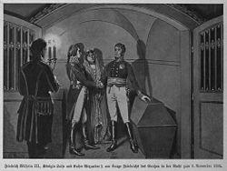 Friedrich Wilhelm III., Königin Luise und Kaiser Alexander I. am Sarge Friedrichs des Großen in der Nacht zum 5. November 1805