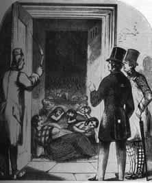 """Arbeitshaus für Frauen – Die """"Arbeitshäuser"""" waren die Antwort der Plutokratie auf die von ihr hervorgerufene Entstehung eines industriellen Proletariats. Hier wurden Arbeitslose unter den entwürdigendsten Bedingungen zur Zwangsarbeit angehalten. Die Frauen waren, wie man sieht, Freiwild für die Londoner Kavaliere. - Aus der Pariser """"Illustration"""" (1849)."""