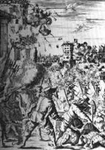 Der Sturm auf Puerto Bello Eins der schmählichsten Kapitel englischer Kolonialgeschichte: mitten im Frieden überfallen die Flibustier die spanische Hafenstadt Puerto Bello in Mittelamerika, metzeln die Besatzung nieder und plündern die Häuser aus. - Alter holländischer Stich..