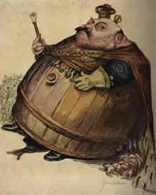 """Eduard VII., das Pulverfaß Die Ahnung des Malers, der den Sohn der Königin Victoria bei seiner Thronbesteigung als Kriegsstifter sah, erwies sich als wahr: Eduard VIL wurde der Einkreiser Deutschlands und damit der Wegbereiter des Weltkrieges. - Aus """"L' Assiette au Beurre"""" (1901)."""