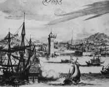 Habana Die Hauptstadt der spanischen Kronkolonie Kuba war oftmals das Ziel englischer Raubüberfälle. Noch im Jahre 1762 wurde sie von einer britischen Flotte überrumpelt und besetzt. Doch vermochte England den Raub nicht festzuhalten. - Nach einem alten holländischen Stich.