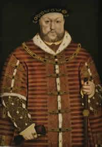 """König Heinrich VIII. (l 509-1547)Unter dem """"König mit den sechs Frauen"""" begann die Vernichtung des englischen Bauernstandes. Denn Heinrich VIII. verschenkte die eingezogenen Klostergüter an reiche Kaufleute, die das Ackerland in Weideland für Schafe verwandelten. - Gemälde von Hans Holbein d. J."""