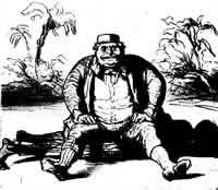 """""""In Jamaika herrscht wieder Ordnung"""" Da die Besiedlung Jamaikas mit Weißen nicht die Insel zu einer Negersklavenkolonie gemacht. Aufstände der misshandelten Schwarzen waren an der Tagesordnung und wurden von den englischen Behörden mit sadistischer Grausamkeit unterdrückt. -Zeichnung von Honorè Daumier (1865)."""