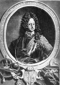 """König Georg I. (1714-1727) – Er übernahm das Präsidium der auf Betrug aufgebauten """"Südsee- Gesellschaft"""" und entfesselte damit eine allgemeine Spekulationswut. Als das Schwindelgebäude zusammengebrochen war, entging er nur mit Mühe einem peinlichen Gerichtsverfahren. - Stich von Bernard Picart."""